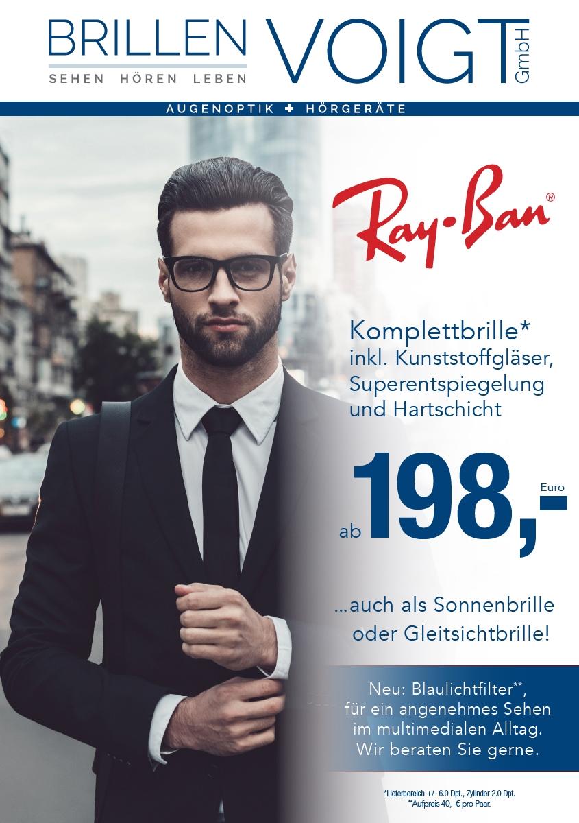 Augenoptik: Angebot Komplettbrille von Ray-Ban für 198,- €