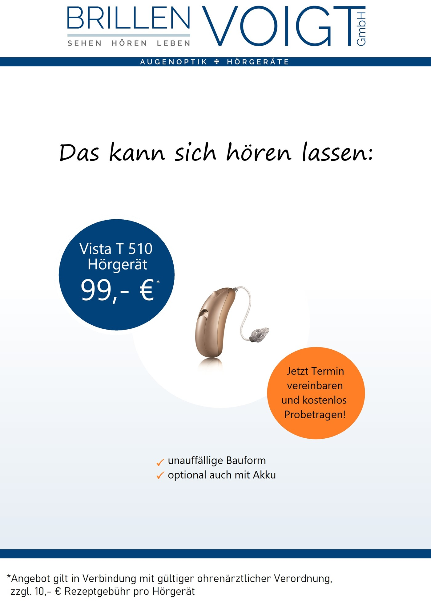 Vista Hörgeräte ab 99 Euro Zuzahlung